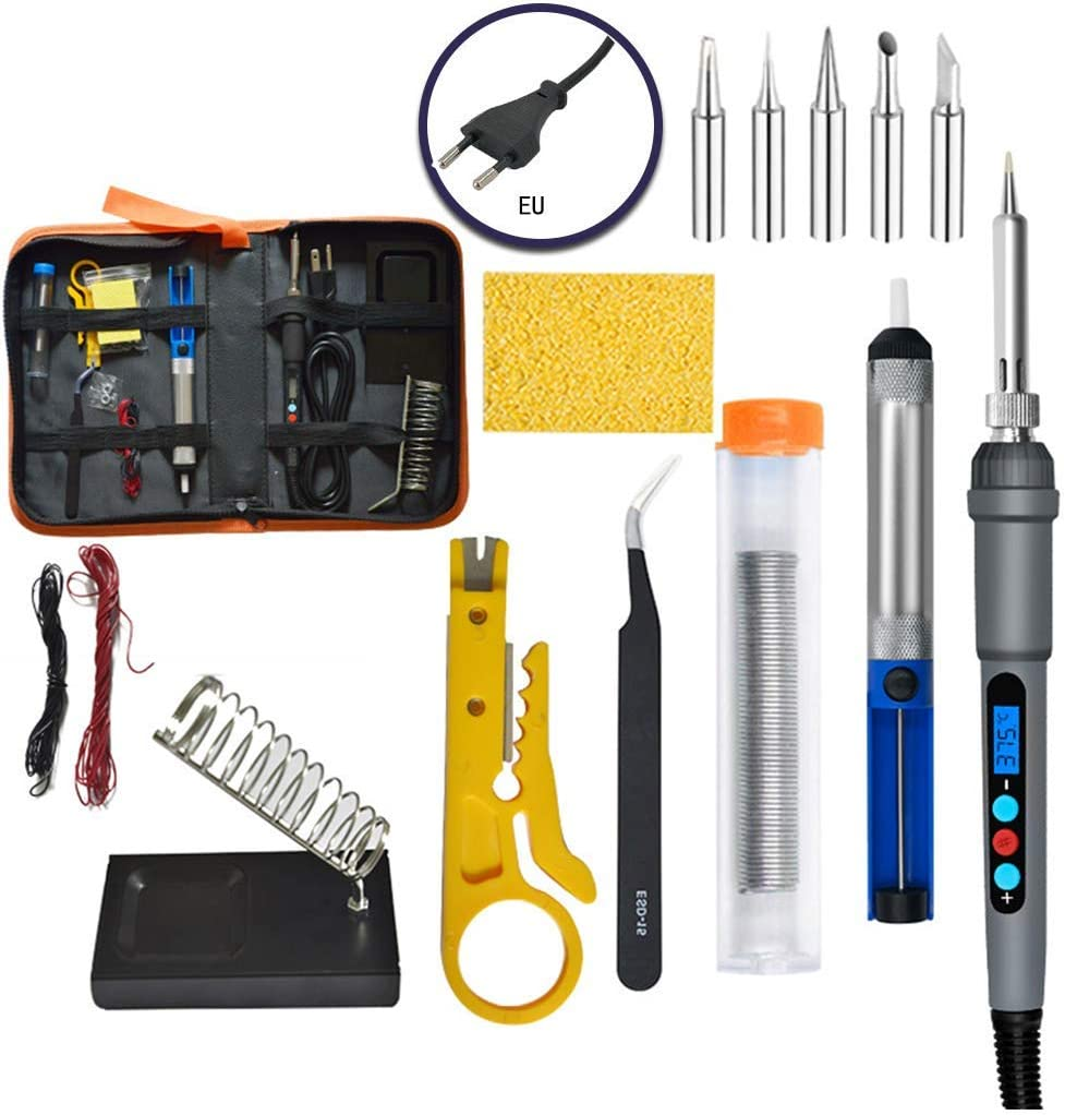 Easy 60W DIY Digital Display Adjustable Temperature Electric Soldering Iron Welding Kit Screwdriver Repair Tools Case Set Screws Color : Gray