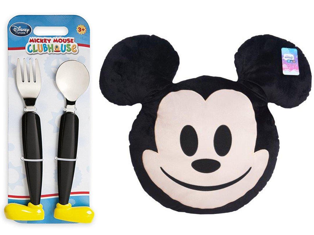 Mickey Mouse Mega Plush Pillow Disney Character Emoji Head /& Clubhouse Fork /& Spoon Flatware Fun Mealtime Magic set MVL AYB