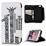 iPhone 6S Plus Case ,iPhone 6 Plus Case 5.5' - Lanveni Premium PU Leather Wallet Flip White Case Cover Pouch Magnetic Closure Stylish Design [Book Style] with Card Slots & Stand Function for iPhone 6s Plus & iPhone 6 Plus - Giraffes Printing
