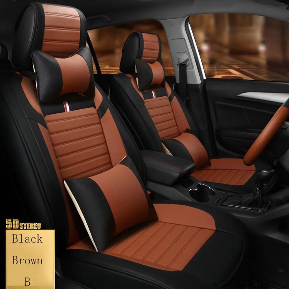 2018 Der neue Four Seasons Leder Autositz Sporty Sommer Microfaser Leder Sitzbezug, Brown QLL
