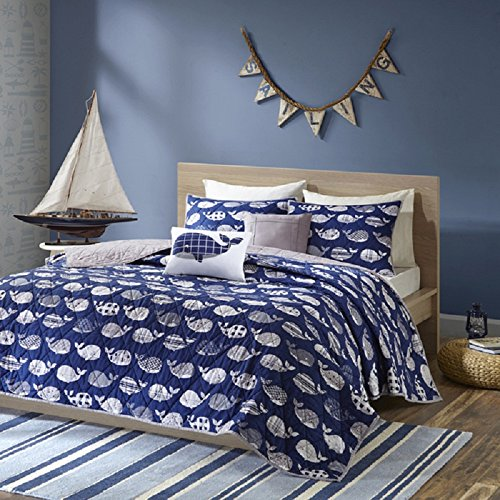 4 Piece Kids Blue Whales Themed Coverlet Twin Set, Delightful Animal Stripes Pattern, Geometric Design Whale Print, Solid Color Diamond Tufted Background, Grey Color Reversible Bedding