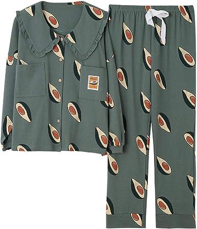 Otoño Nuevos Pijamas Sueltos Mujeres Otoño Invierno Algodón Cárdigan de Manga Larga Ropa de casa para Mujer: Amazon.es: Ropa y accesorios