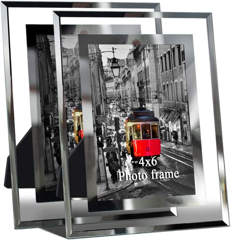 Giftgarden Modern Glass Picture Frame 4x6 Friends Gifts for 4 by 6 Photo Display 2 PCS