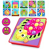Button Art Toys Color Matching Mosaic Pegboard Set Early Preschool Learning Educational Toys for Kids Boys & Girls,Brain Training Games, Thanksgiving Christmas Birthday Party Gifts