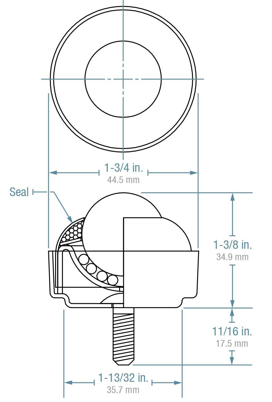 1//4-20 Thread Stem Case of 10 Carbon Steel Hudson Bearings SBT-1 Stud Mounted Nylon Ball Transfer Case of 10 1 Diameter 35 lbs Load Capacity 1 Diameter 1//4-20 Thread Stem