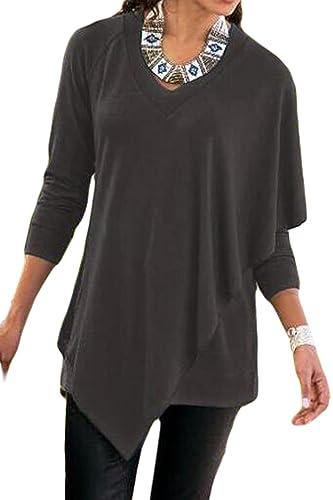 Mujeres En Capas Irregulares Sobrepelliz Hanky Hem Cuello En V Blusa T Shirt