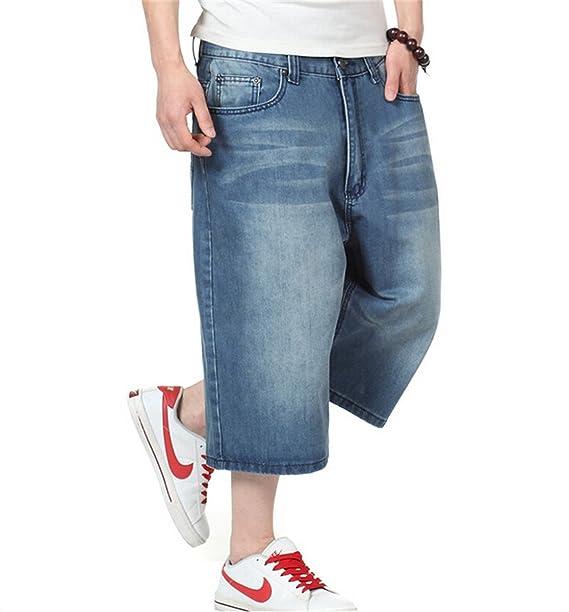 Profitd Hombre Pantalones cortos jeans Pantalones holgados de Hip Hop para hombre  Pantalones vaqueros azules de 538fc6eb3ec