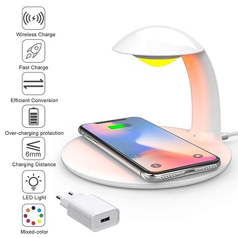 HLF Lámpara de cabecera LED regulable con cargador inalámbrico, lámpara de mesa de control táctil, estación de carga Qi de 10W para Samsung / iPhone / ...