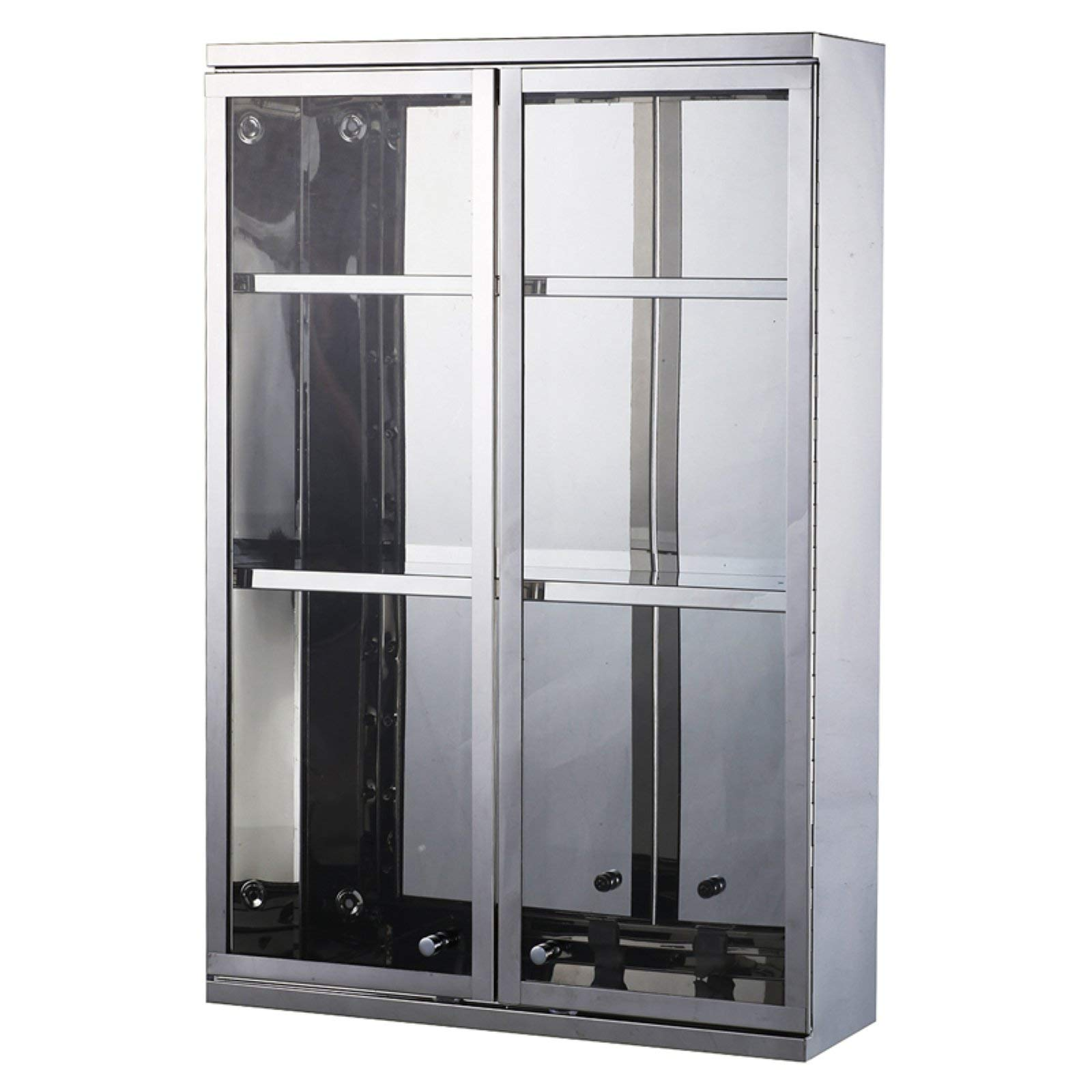 Sleek China Cabinet with Modern Appeal, Durably Constructed of Stainless Steel and Glass, Three Shelves for Storage and Display, Contemporary Design with Metallic Silver Finish + Expert Home Guide