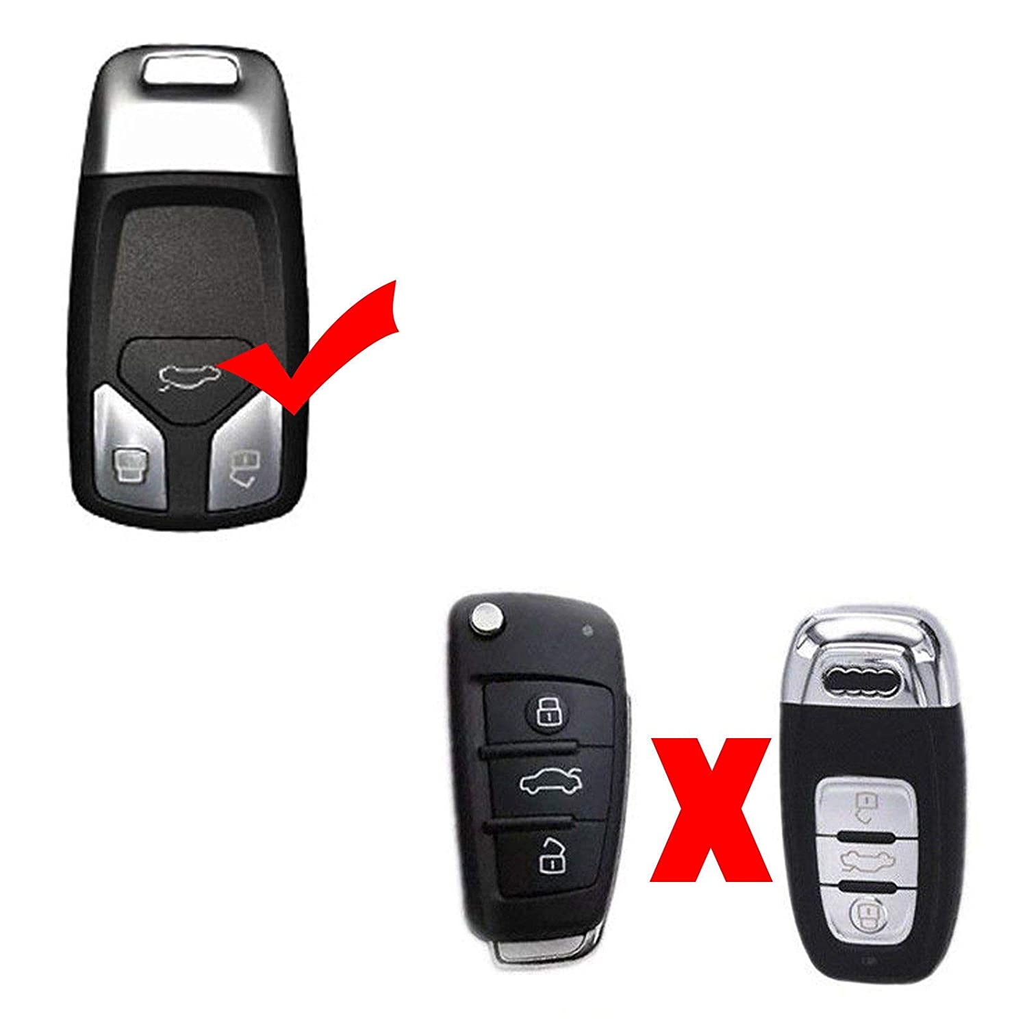 Xotic Tech Carbon Fiber Pattern Key Fob Cover TPU Shell Remote Key Case Protector for Audi A4 TT A5 Q7 2016-up
