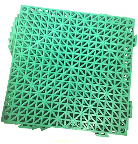 Set of 9 Interlocking GREEN Rubber Floor Tiles- 11.5 inches each side - Non-Slip Tread - Wet Areas like Pool Shower Locker-Room Bathroom Deck Patio Garage Boat. Can be cut to fit- Foghorn Construction