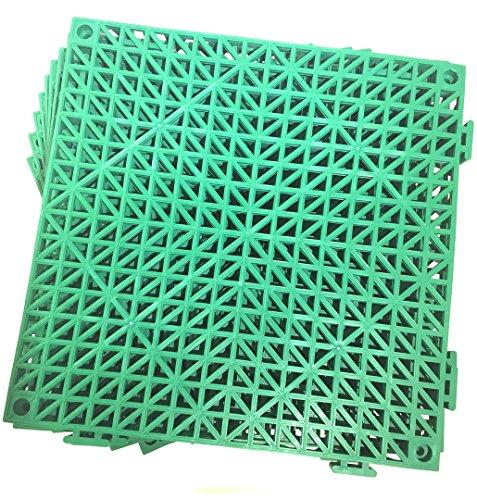 Set of 9 Interlocking GREEN Rubber Floor Tiles- 11.5 inches each side - Non-Slip Tread - Wet Areas like Pool Shower Locker-Room Bathroom Deck Patio Garage Boat. Can be cut ()