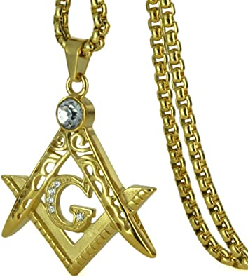 Masonic Mason Symbol Pendant Necklace for Men Gold Fashion Rhinestone Freemasons Necklaces Stainless Steel Male Jewelry