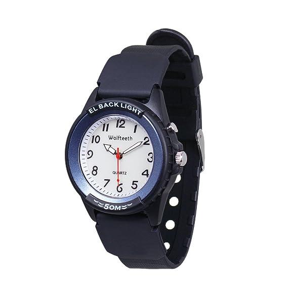 Wolfteeth Analog Quartz Boys Reloj De Pulsera con Segunda Mano Luminosa Retroiluminación Dial Blanco Resistente Al Agua Moda Reloj Azul 305202: Amazon.es: ...