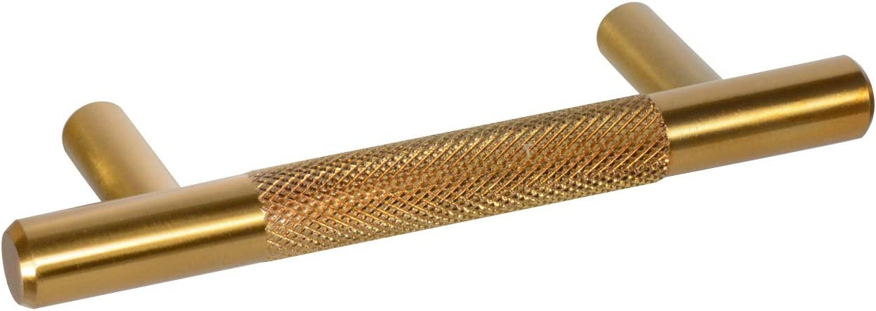 CKP Brand #3485-3 in. (76mm) Knurled Steel Bar Pull, Amber Gold - 10 Pack
