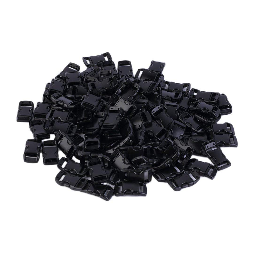 Swiftswan 100 Pcs 3/8 Inch Black Plastic Curved Buckle DIY Craft Webbing Contoured Side Quick Release Buckle for Bracelets Backpack Tactical Bag and Gear