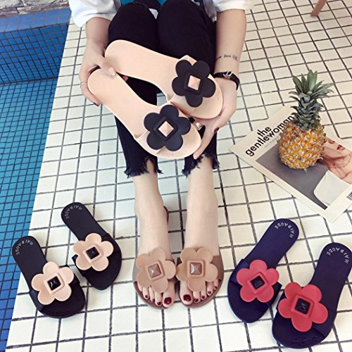 hunpta Women Fashion Solid Flower Round Toe Flat Heel Slipper Sandals Beach Shoes Black dswwtSyE