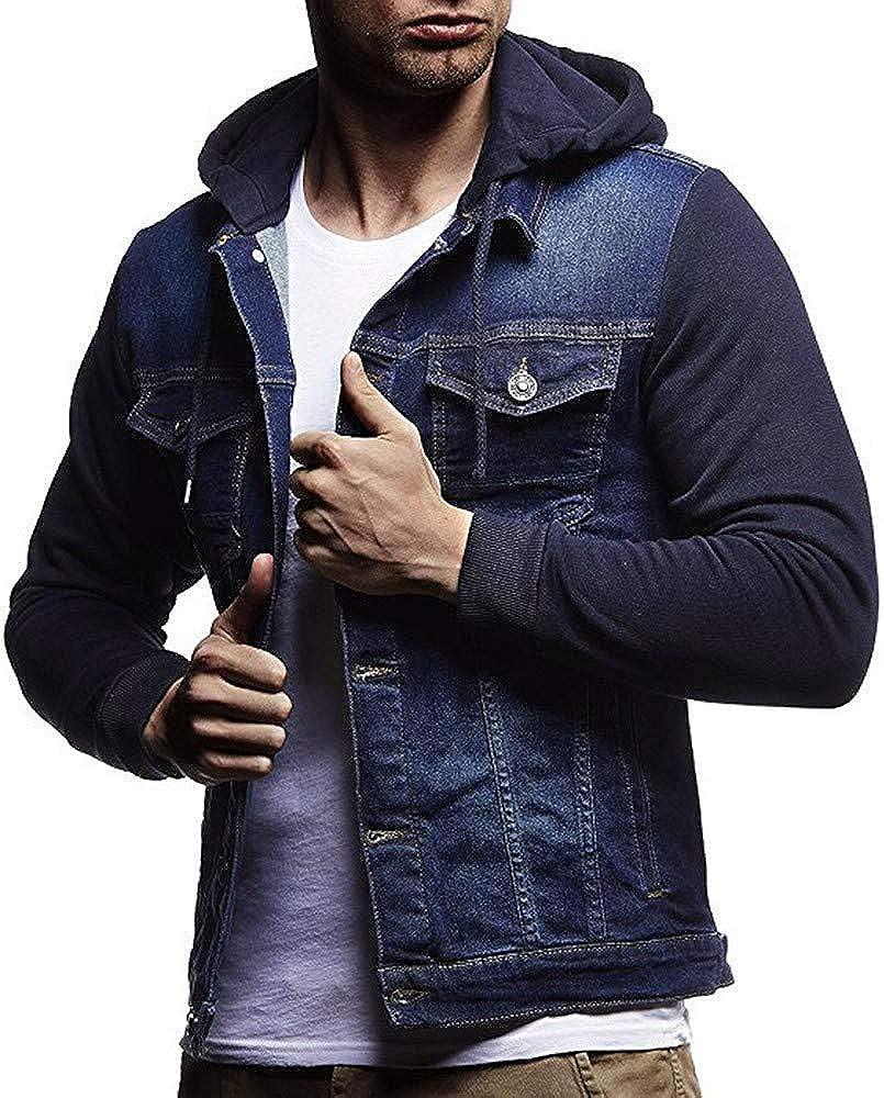 WUAI-Men Denim Hoodie Jacket Casual Slim Fit Button Down Military Jeans Trucker Jean Coat