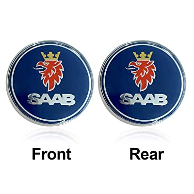 Bearfire 2pcs Hot sale 68mm Blue SAAB logo car front hood bonnet emblem rear badge sticker for 03-10 Saab 9-3 9-5 93 95: Automotive