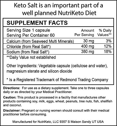 Keto Salt Trace Minerals in Veggie Caps – Low Carb High Fat LCHF – Ketogenic Diet
