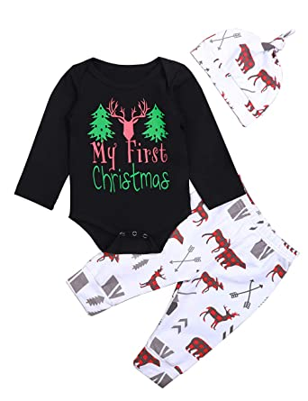 ad6b2adc78f17 Newborn Baby Boy Girl Clothes Christmas Suit Long Sleeve Romper,Retro Deer  Bear Pants+