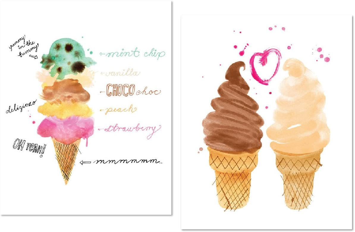 Popular Retro Ice Cream Cone Scoops and Ice Cream Love; Two 8x10in Poster Prints. Brown/Pink