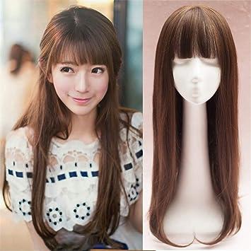 Perückenaufsatz Für Damen Glattes Haar Mit Pony 66 Cm Amazonde