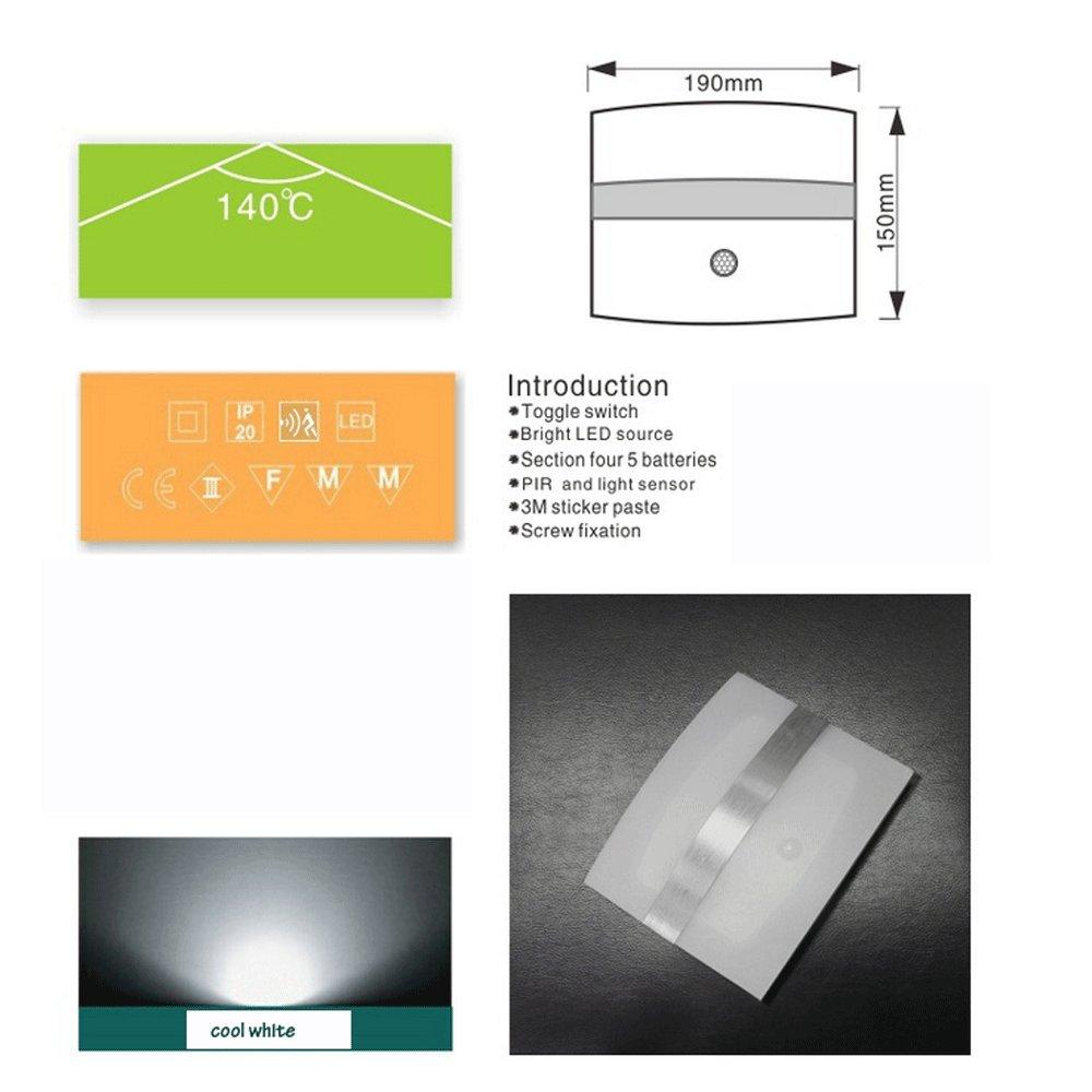 PIR und Bewegungsmelder Cdycam LED-Wandleuchte mit Bewegungssensor Bewegungsmelder kabellos Nachtlicht batteriebetrieben