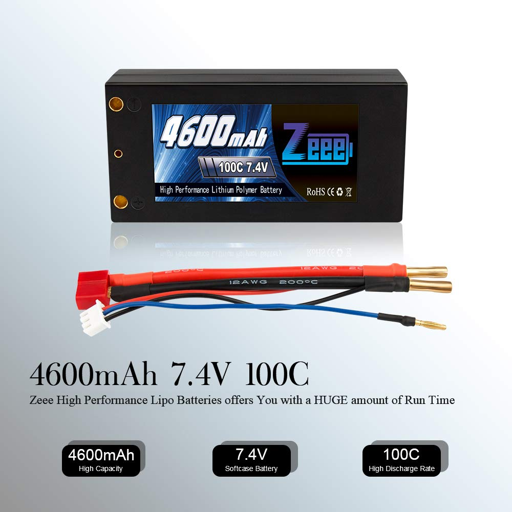 Zeee 2S Shorty Lipo 7.4V 100C 4600mAh Hardcase Lipo Battery with 4mm Bullet Deans Ultra Plug Connector for RC 1/10 Scale Vehicles Car,Trucks,Boats by Zeee (Image #4)