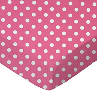 product image for SheetWorld Fitted Pack N Play (Graco) Sheet - Polka Dots Pink - Made In USA