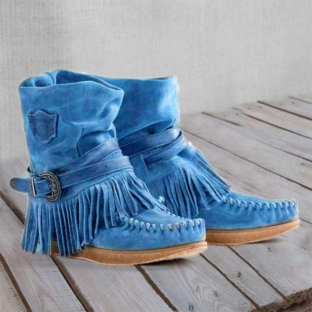 wenyujh Femmes Bottes de Neige Franges Chaussure dHiver Chaude Classique Talon Plats Boots Bottines