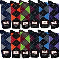 Debra Weitzner Mens Dress Socks With Bright Argyle Patterns - Cotton - Assorted Colors - Crew Length - Pack of 12 Pairs