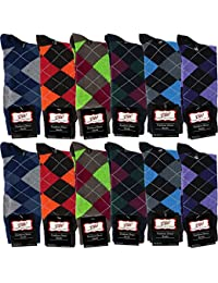 Mens Dress Socks With Bright Argyle Patterns - Cotton - Assorted Colors - Crew Length - Pack of 12 Pairs