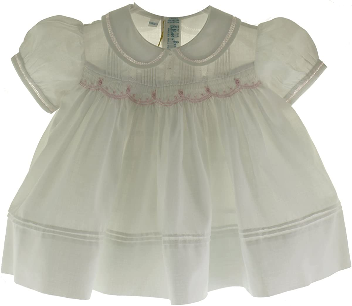 Feltman Brothers Newborn Girls White Smocked Dress with Pink Flowers