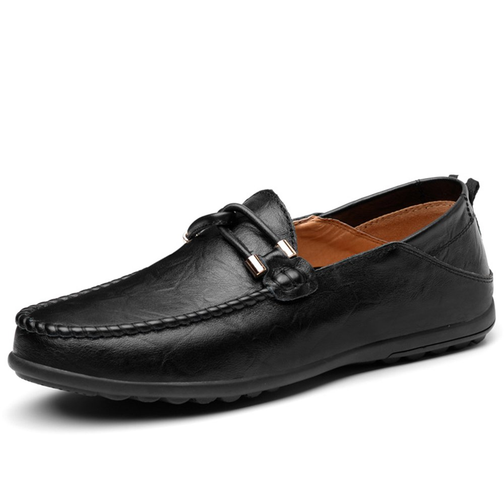 Black JIALUN-shoes Men's Classic Flat Heel Loafer Leather Solid color Slip On Leisure shoes Up to Size 11MUS