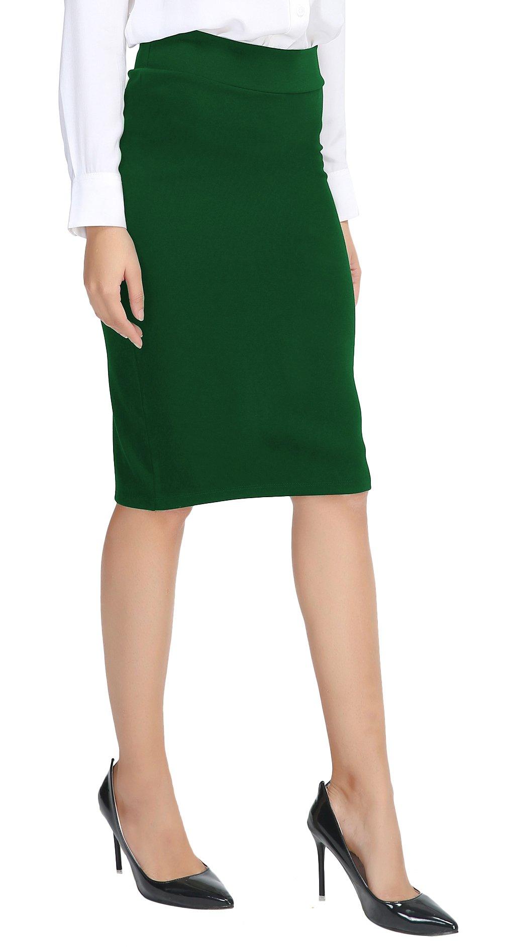 Urban CoCo Women's Elastic Waist Stretch Bodycon Midi Pencil Skirt (L, Emerald Green)