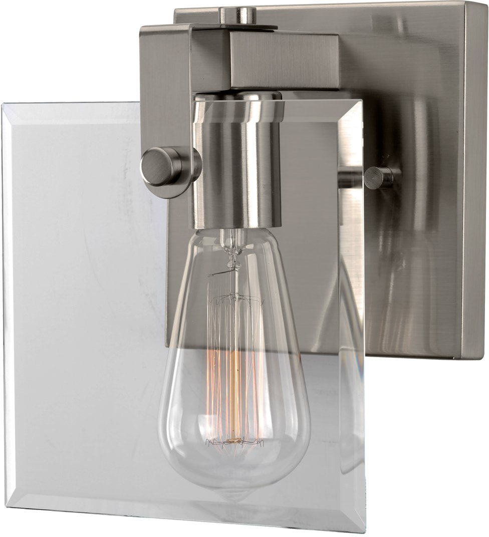 Luxury Modern Farmhouse Bathroom Vanity Light, Small Size: 8.38'' H x 7'' W, with Industrial Chic Style Elements, Brushed Nickel Finish, UHP2455 from The Bristol Collection by Urban Ambiance