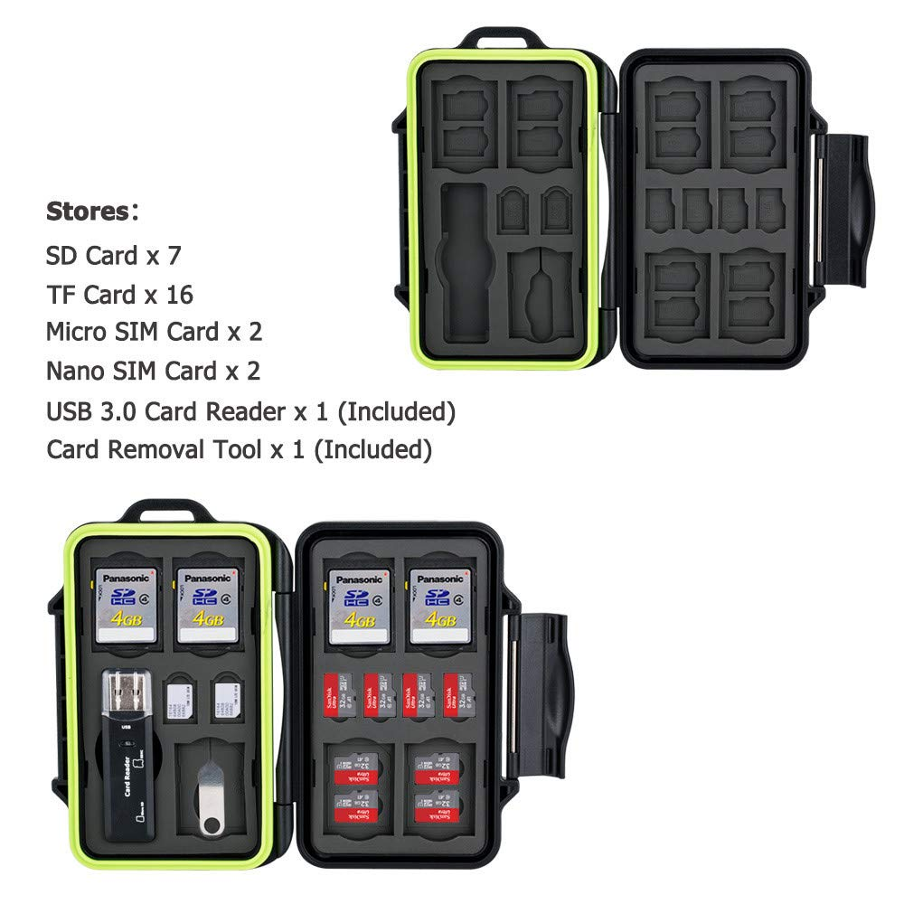 16 MicroSD MSD TF 30 Slots Professional Memory Card Case Holder Wallet Storage Protector with USB 3.0 Card Reader for 10 SD SDHC SDXC 2 Micro Sim 2 Nano Sim w//Carabiner /& Card Removal Pin Tool