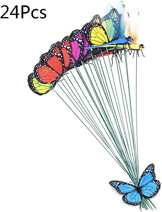 Ycncixwd 24 Piezas (20 x Mariposas + 4 x Dragonfly) Mariposa Artificial decoración jardín Patio césped terraza Exterior Arte Ornamentos Color Aleatorio decoración artesanía: Amazon.es: Jardín
