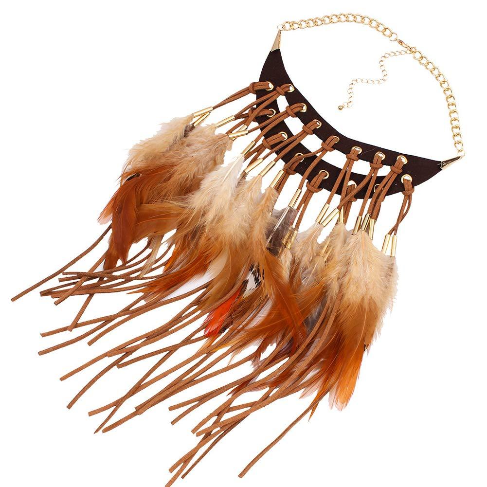 Accessorio per Capelli per Donne e Ragazze Ssowun Collana Vintage con Piume Indiane