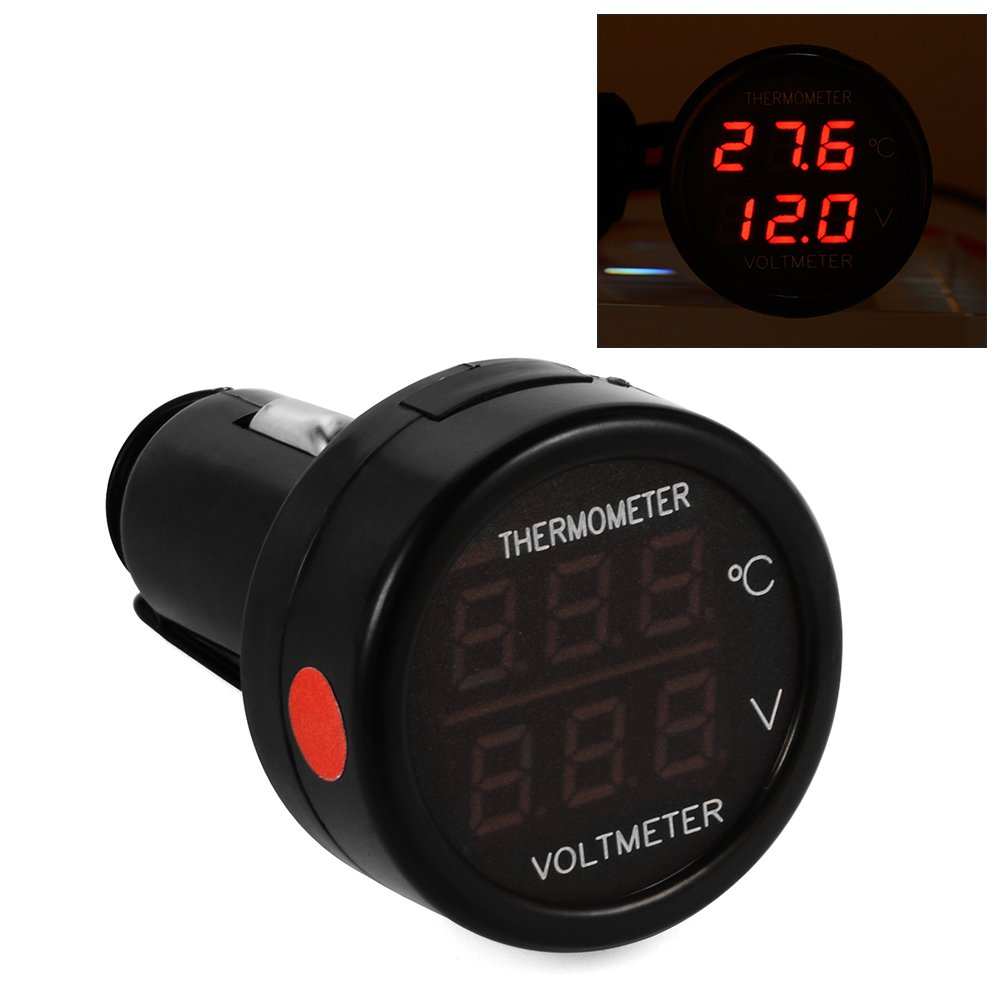 XCSOURCE 2 In 1 Car Auto Dual LED Display Digital Voltmeter + Thermometer Power-Check Kit With Fuse MA393