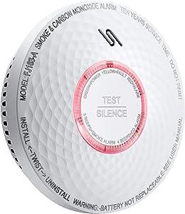 Ecoey Smoke Carbon Monoxide Detector, Fire Alarm Smoke Detector with 10 Year Battery, Dual Sensor Smoke CO Combo Alarm with Silence Function,FJ183-A,1 Pack