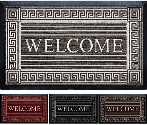 ZonMore Extremely Durable Doormat – Outdoor Welcome Door Mat Non Slip with Thick Natural Rubber Backing – Indoor Outdoor Sole Dirt Collection – Low-Profile Mats 24 x 36 , Gray