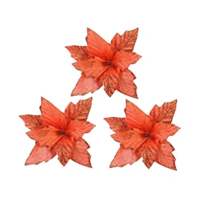 3pcs xmas bronzing artificial christmas flowers christmas tree decorations glitter orange poinsettia