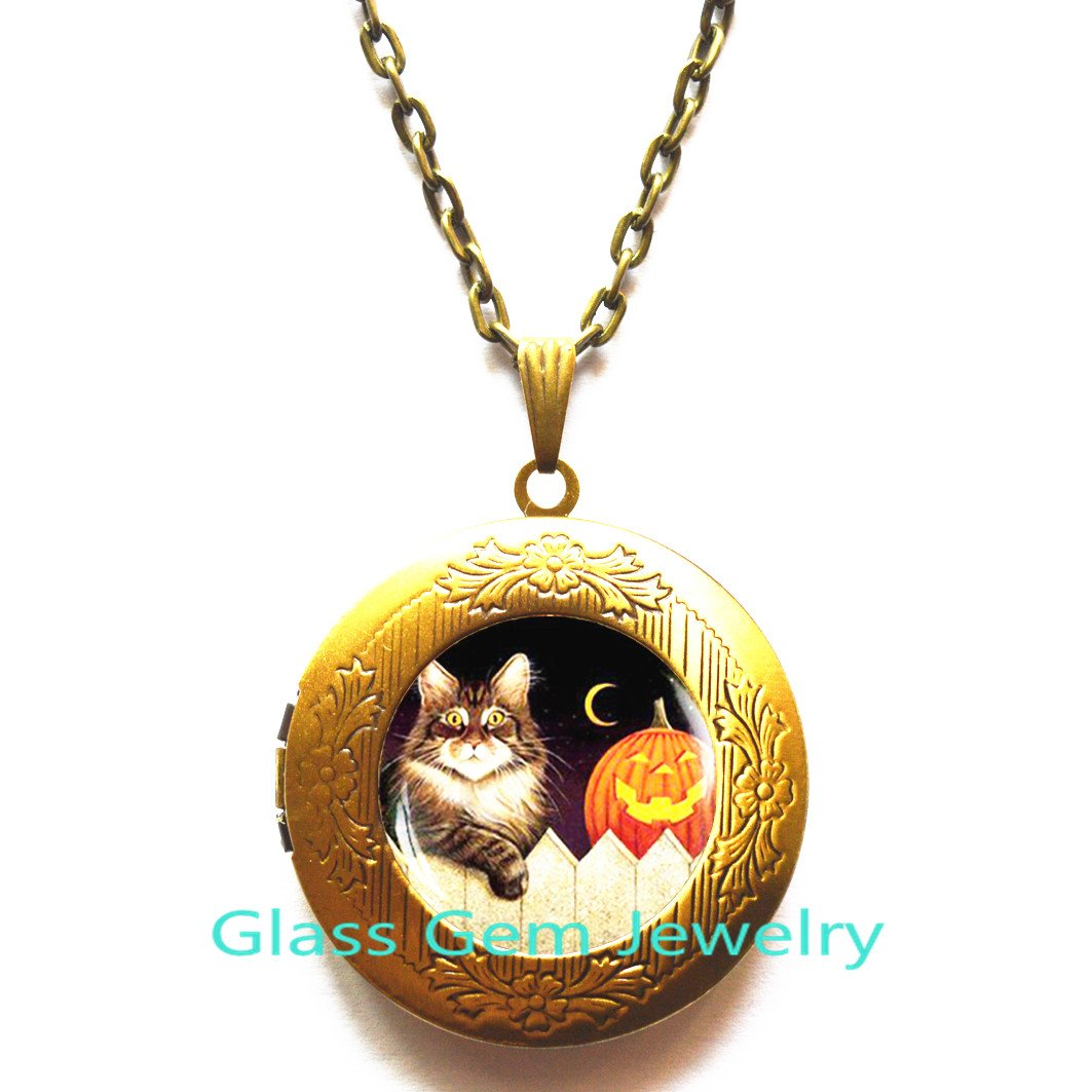 Halloween cat Locket Pendant Halloween Locket Necklace Trick or Treat Halloween Locket Pendant Halloween Pumpkin Locket Necklace Halloween gift,Q0109 Cat Locket Necklace