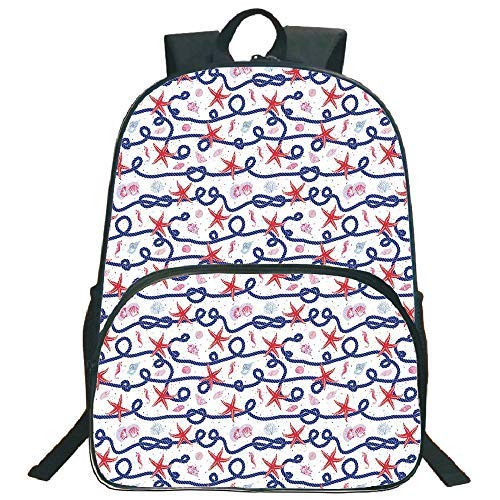 Lionkin8 Circular Front School Bag Backpack, Starfish Decor, Nautical Pattern Navy Marine Rope Red Starfish Shells Scallops Seahorses Decorative, Multicolor, for Boys and Girls