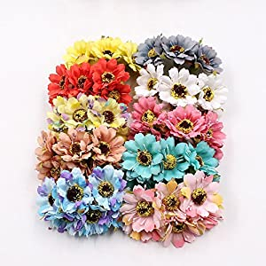 30PCS/LOT 3.5CM Silk Artificial Flower Daisy Flower Bouquet Wedding Decoration DIY Wreath Scrapbook Gift Box Craft Flower 86