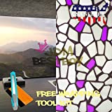 Free Tool Kit EZAUTOWRAP Purple Brick Frosted Glass Peel And Stick Window Film Home Bedroom Bathroom Privacy Waterproof Sticker Decal - 36''X540'' (3FT X 45FT)
