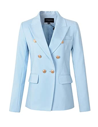 Womens Double Breasted Military Style Blazer Ladies Coat Jacket At