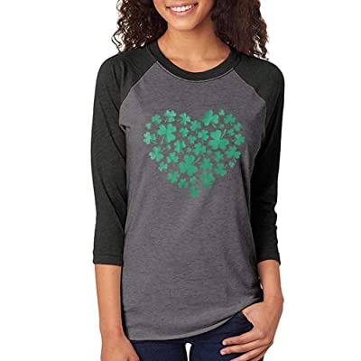 Chulianyouhuo Shamrock Heart St Patricks Day Shirt Women Raglan 3/4 Sleeve O-Neck Baseball Splicing Tee Tops at Women's Clothing store